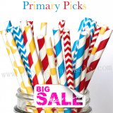 300pcs PRIMARY PICKS Themed Paper Straws Mixed