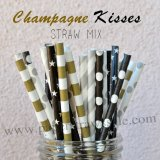 250pcs CHAMPAGNE KISSES Theme Paper Straws Mixed