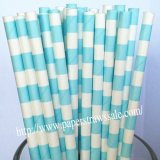 Light Blue Sailor Stripe Paper Straws 500pcs