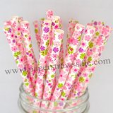 Green Pink Purple Floral Paper Straws 500pcs