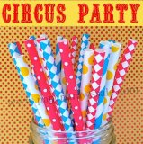 250pcs Circus Party Theme Paper Straws Mixed