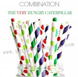200pcs VERY HUNGRY CATERPILLAR Paper Straws Mixed