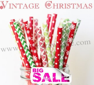 300pcs VINTAGE CHRISTMAS Paper Straws Mixed