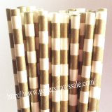 Gold and White Sailor Stripe Paper Straws 500pcs