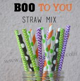 250pcs Boo to You Theme Paper Straws Mixed