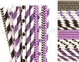 300pcs Black and Purple Party Paper Straws Mixed