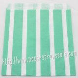 Aqua Vertical Striped Paper Favor Bags 400pcs