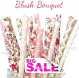 200pcs Blush Bouquet Themed Paper Straws Mixed