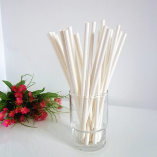 Solid White Paper Drinking Straws 500pcs