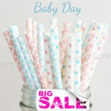 200pcs Baby Day Themed Paper Straws Mixed