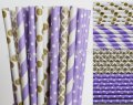 200pcs Lilac and Gold Party Paper Straws Mixed
