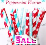 250pcs PEPPERMINT FLURRIES Themed Paper Straws Mixed