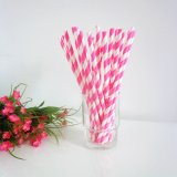Paper Straws Hot Pink Stripe Design 500pcs