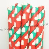 Green Red Stripe White Heart Paper Straws 500pcs