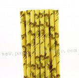 Camo Yellow Patterned Paper Straws 500pcs