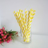 Yellow and White Striped Paper Drinking Straws 500pcs