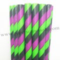 Purple Green Black Striped Paper Straws 500pcs