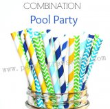 250pcs POOL PARTY Paper Straws Mixed
