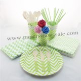 193 pieces/lot Party Dinnerware Set Green Zig Zag