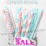 250pcs GENDER REVEAL Theme Paper Straws Mixed