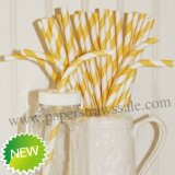Yellow Stripe Bendy Paper Drinking Straws 500pcs