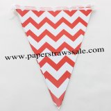 Red Chevron Party Triangle Bunting Flags 20 Strings
