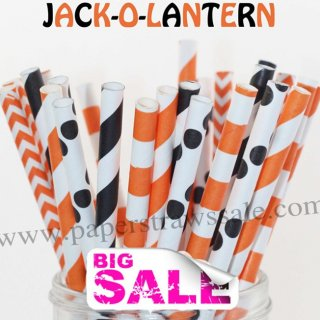 250pcs JACK-O-LANTERN Theme Paper Straws Mixed