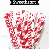250pcs Valentines Sweetheart Paper Straws Mixed