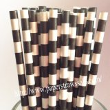 Black Circle Stripe Print Paper Straws 500pcs