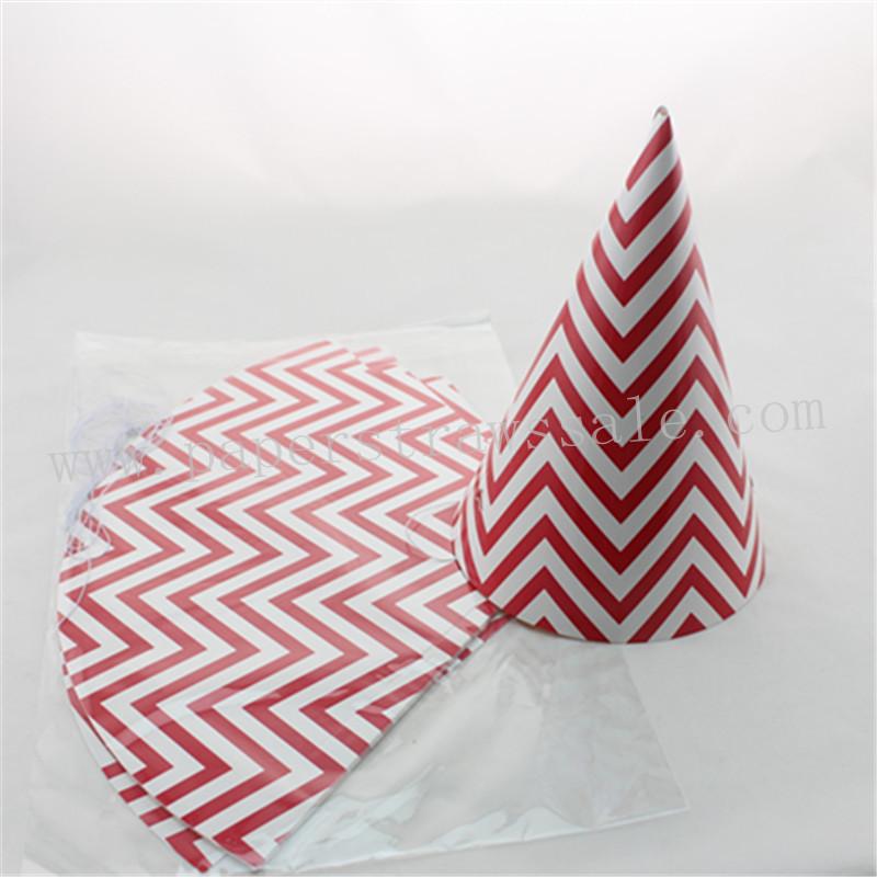 48pcs Red Chevron Paper Party Hats