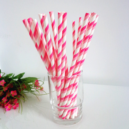 Pink Striped Paper Straws Paper Straws Deep Pink And