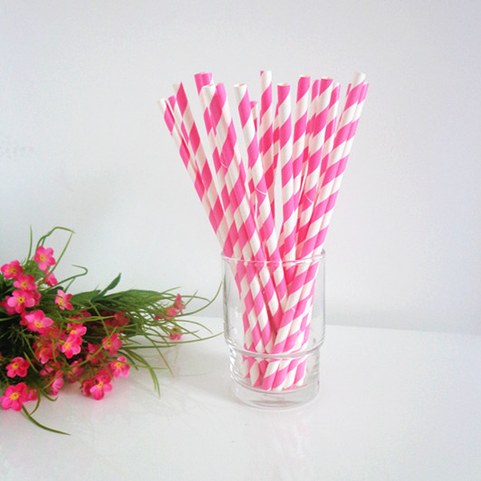 Pink Striped Paper Straws Paper Straws Hot Pink Stripe